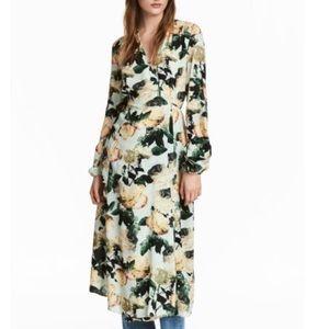 H&M Green Floral Wrap Dress